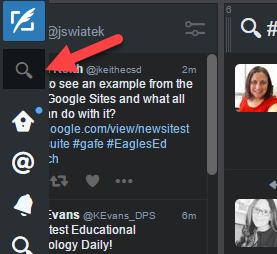 Tweetdeck magnifying glass in upper left